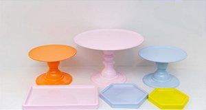 Kit Comemore 03 - Colors Laranja, Rosa Candy , Azul Candy e Amarelo- Só Boleiras - Rizzo Festas