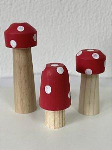 R25 - Decoração de Madeira  - Trio de Cogumelos - 01 Unidade - Mara Móveis - Rizzo Festas