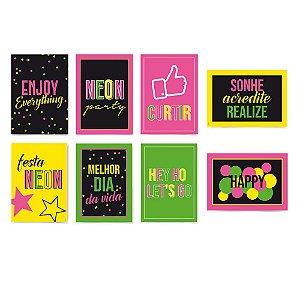 Cartaz Decorativo - Festa Neon - 08 unidades - Cromus - Rizzo Festas