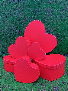 Kit Caixa Rígida Coração Vermelho - 06 Unidades - Rizzo Embalagens
