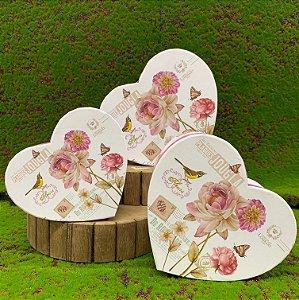Kit Caixa Rígida Coração c/ Flores - 03 ou 01 unidade - Rizzo Embalagens