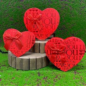 Kit Caixa Rígida Coração LOVE c/ Laço - 03 ou 01 unidade - Rizzo Embalagens