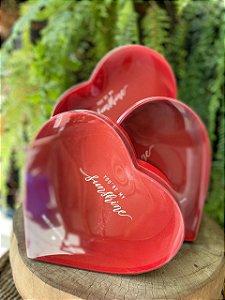 Kit Caixa Rígida Coração Vermelho c/ Visor - 03 ou 01 unidade - Rizzo Embalagens