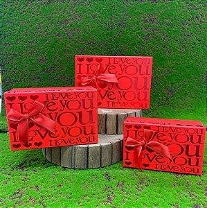Kit Caixa Rígida Quadrada Vermelha c/ Laço - 03 ou 01 unidade - Rizzo Embalagens