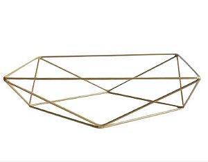 Base aramada triangular para bandeja - Dourado - Rizzo Festas