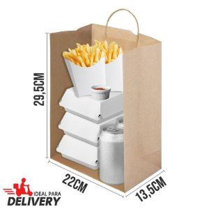 Sacola Delivery Kraft - 22x13,5x29,5cm - 10 unidades - Ref 5812 - WMA - Rizzo Embalagens