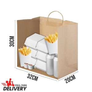 Sacola Delivery Kraft - 30x20x32cm - 10 unidades - Ref 5454 - WMA - Rizzo Embalagens