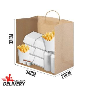 Sacola Delivery Kraft - 32x20x34cm - 10 unidades - Ref 5430 - WMA - Rizzo Embalagens