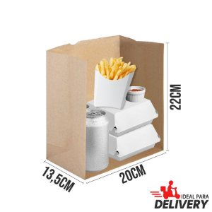 Saco Delivery Kraft - 22x13,5x20cm - 10 unidades - Ref 5782 - WMA - Rizzo Embalagens