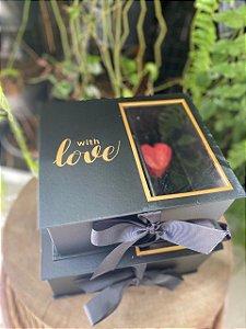 Caixa Rígida com Visor Preto With Love - 01 unidade - Rizzo Embalagens