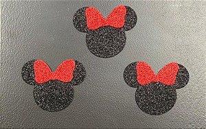 Aplique de EVA Mouse com Laço Vermelho Glitter 4cm - 06 Unidades - Make Festas Rizzo Festas