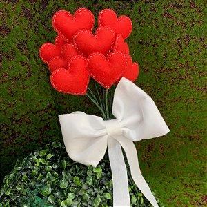 Bouquet de Corações Vermelho c/ Laço em Feltro - 01 Unidade - Rizzo Festas