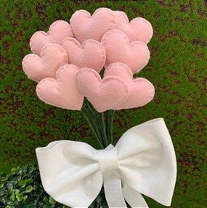 Bouquet de Corações Rosa c/ Laço em Feltro - 01 Unidade - Rizzo Festas