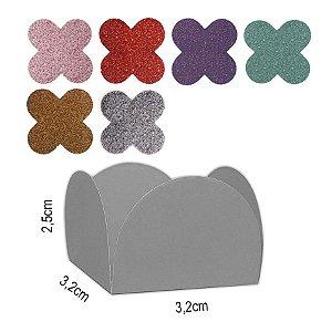 Forminha para doces 4 Pétalas Glitter - 50 unidades - NC Toys Rizzo Festas