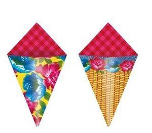 Cone Decorativo Para Festa Junina Composê 2 - Cromus 24 Unidades - Rizzo Festas