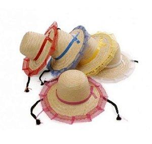 Chapéu de Palha com Renda e Trança - Cores Variadas - 01 Unidade - Rizzo Festas