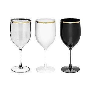 Taça Vinho Acrílico Borda Dourada - 01 Unidade - Rizzo Festas