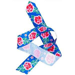 Fita de Gorgurão Chita Azul Flores Pink 38mm - 10 metros - Progresso - Rizzo Embalagens