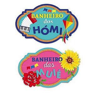 Placa de Sinalização Banheiros Festa Junina - 02 unidades - Cromus - Rizzo Festas