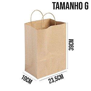 Sacola de Papel Kraft - Tamanho G 23,5x10x39cm - Ref. 0053 - Rizzo Embalagens