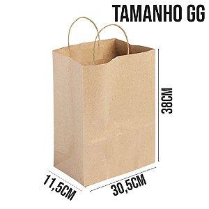 Sacola de Papel Kraft - Tamanho GG 38x30,5x11,5cm - Ref. 0084 - Rizzo Embalagens