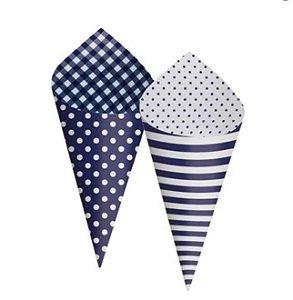 Cone Decorativo para Festa Azul - 24 Unidades - Cromus Festas - Rizzo Embalagens