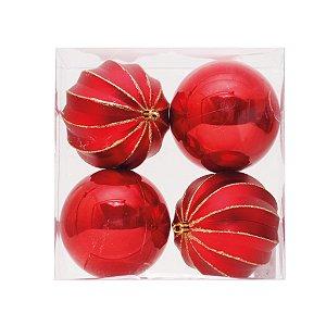 Kit Bolas Texturizadas Vermelho/Dourado 10cm - 04 unidades - Cromus Natal - Rizzo Embalagens