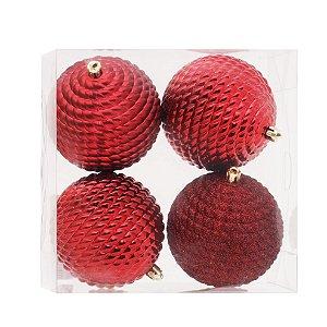 Kit Bolas Texturizadas Vermelho 10cm - 04 unidades - Cromus Natal - Rizzo Embalagens