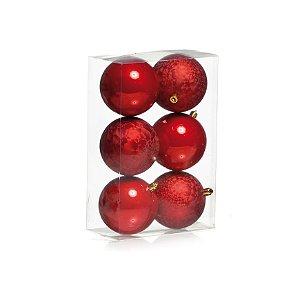 Kit Bolas Texturizadas e Lisas Vermelho 8cm - 06 unidades - Cromus Natal - Rizzo Embalagens