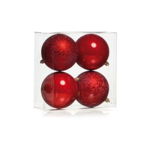 Kit Bolas Texturizadas e Lisas Vermelho 10cm - 04 unidades - Cromus Natal - Rizzo Embalagens