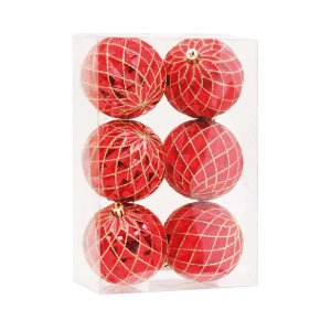 Kit Bolas Texturizado Vermelho 8cm - 06 unidades - Cromus Natal - Rizzo Embalagens