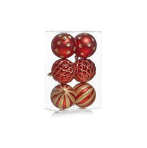 Kit Bolas Texturizadas Vermelho/Ouro 8cm - 06 unidades - Cromus Natal - Rizzo Embalagens