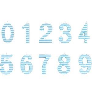 Vela de Aniversário Listrada Azul G - 01 unidade - Cromus - Rizzo Festas