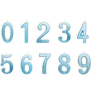 Vela de Aniversário Metalizado Azul G - 01 unidade - Cromus - Rizzo Festas