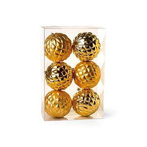 Kit Bolas Texturizadas Losango Dourado 8cm - 06 unidades - Cromus Natal - Rizzo Embalagens