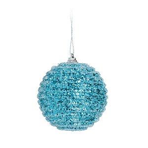 Kit Bolas Glitter Azul 8cm - 06 unidades - Cromus Natal - Rizzo Embalagens