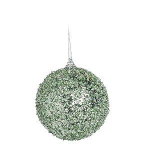 Kit Bolas Flocada Verde 10cm - 04-unidades - Cromus Natal - Rizzo Embalagens