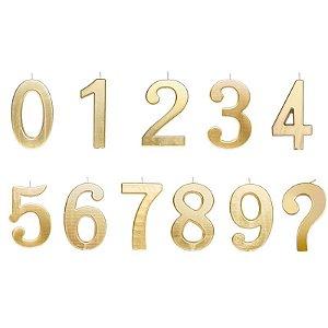 Vela de Aniversário Metalizado Dourado G - 01 unidade - Cromus - Rizzo Festas