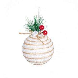 Kit Bola Natal Branco 10cm - 04 unidades - Cromus Natal - Rizzo Embalagens