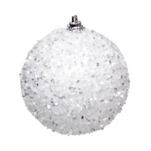 Kit Bola Nevada Glitter Branco 10cm - 04 unidades - Cromus Natal - Rizzo Embalagens