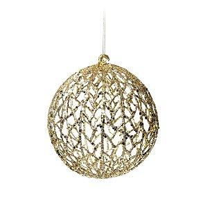 Bola com Glitter Vazada Ouro 12cm - 01 unidade - Cromus Natal - Rizzo Embalagens