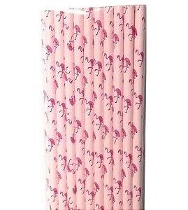Canudo de Papel Flamingos - 20 unidades - ArtLille - Rizzo Festas