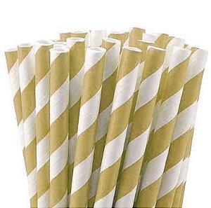 Canudo de Papel Listras Dourado - 20 unidades - Rizzo Festas