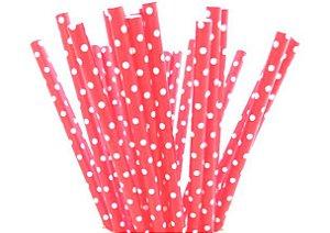 Canudo de Papel Poá Vermelho - 20 unidades - ArtLille - Rizzo Festas