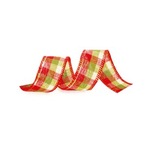 Fita Xadrez Vermelho/Verde 6,3cm - 01 unidade 9,14m - Cromus Natal - Rizzo Embalagens