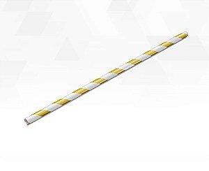 Canudo de Papel Listras Metalizado Branco e Dourado - 15 unidades - Silver Festas - Rizzo Festas