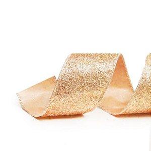 Fita Glitter Ouro 6,3cm - 01 unidade 9,14m - Cromus Natal - Rizzo Embalagens
