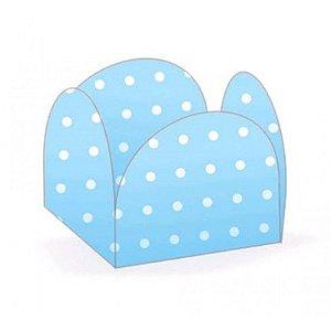 Forminhas para Doces 4 Pétalas Poá Azul Claro e Branco 50 unidades NC Toys