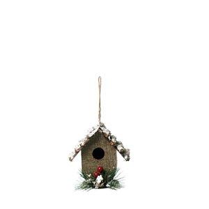 Enfeite para Pendurar Casa Natural 10cm - 01 unidade - Cromus Natal - Rizzo Embalagens