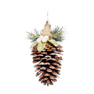 Enfeite para Pendurar Pinha 12cm - 01 unidade - Cromus Natal - Rizzo Embalagens